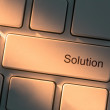 Keyboard with close up on solution button — Stock Photo