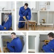Collage of carpenter working — Foto Stock