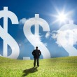 Businessman looking at large dollar signs on the horizon — Stock Photo #25719071
