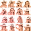 图库照片: Collage of woman with straw hat and sunglasses