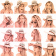 Collage of woman with straw hat and sunglasses — Stock Photo
