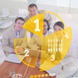 Overview of colleagues using yellow pie chart interface — Stock Photo