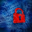 Digital circuit board with red padlock in the middle — Stock Photo #25719389