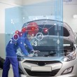 Mechanic with open hood with futuristic interface — Stock Photo #25719533