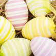 Stock Photo: Six striped easter eggs