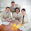 Overview of happy colleagues using yellow pie chart interface — Stock Photo #25719621