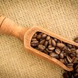 Wooden shovel full of coffee beans — Stock Photo