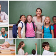 Collage of primary school pupils and teachers — Stock Photo