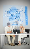Three business using blue map diagram interface — Stock Photo