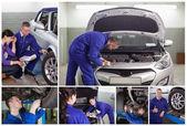 Collage der mechanik bei der arbeit — Stockfoto