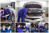 Collage of mechanics at work — Stockfoto