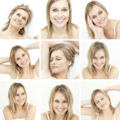 Collage of attractive blonde woman — Stock Photo