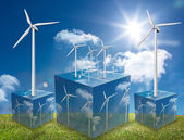 Wind turbines on cubes showing more wind turbines — Stock Photo