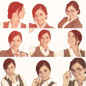 Collage of brunette businesswoman in sepia — Stock Photo