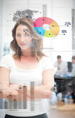 Confident businesswoman using different chart interfaces — Stock Photo