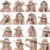 Collage of woman with straw hat — Stock Photo