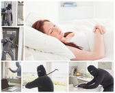 Collage of burglar breaking and entering — Stock Photo