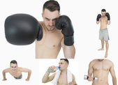Collage of a man boxing — Stock Photo