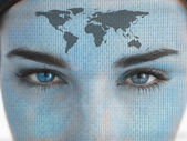 Attractive blue eyed woman with binary coding and map on face — Stock Photo