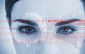 Portrait of an attractive woman with binary code — Stock Photo