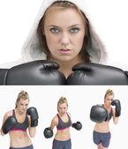 Collage d'une femme boxe — Photo