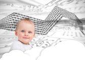 Portret van een schattige baby over wolken en binaire codes — Stockfoto
