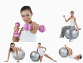 Collage of young woman doing aerobics — Stock Photo