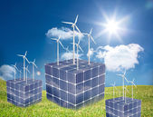 Turbines on cubes made of solar panels — Stock Photo