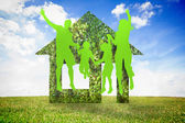 Green jumping family — Stockfoto