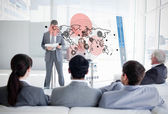 Business listening and looking at map diagram interface — Stock Photo