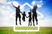 Black silhouette of family jumping — Stock Photo