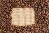 Coffee beans with rectangular indent for copy space — Stock Photo