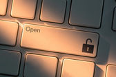 Keyboard with close up on open button — Stock Photo
