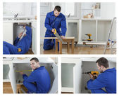 Collage of carpenter working — Stock Photo