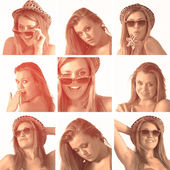 Collage of a woman with hat and sunglasses in sepia — Stock Photo