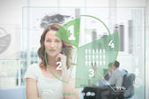 Blonde businesswoman using green pie chart interface — Stock Photo
