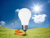 Light bulb floating in a green field — Stock Photo