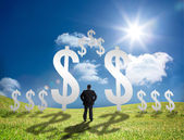 Businessman standing in a field with dollar signs — Foto Stock