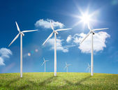 Six wind turbines in a field — Stock Photo