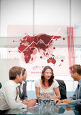 Business workers using red map diagram interface — Stock Photo
