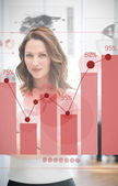Confident blonde businesswoman using red chart interface — Stock Photo