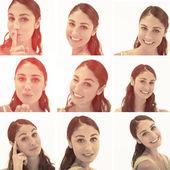 Collage van brunette vrouw in sepia — Stockfoto
