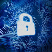 Digital circuit board with white padlock in the middle — Stock Photo