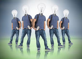 Multiple image of student with light bulb head — Stock Photo