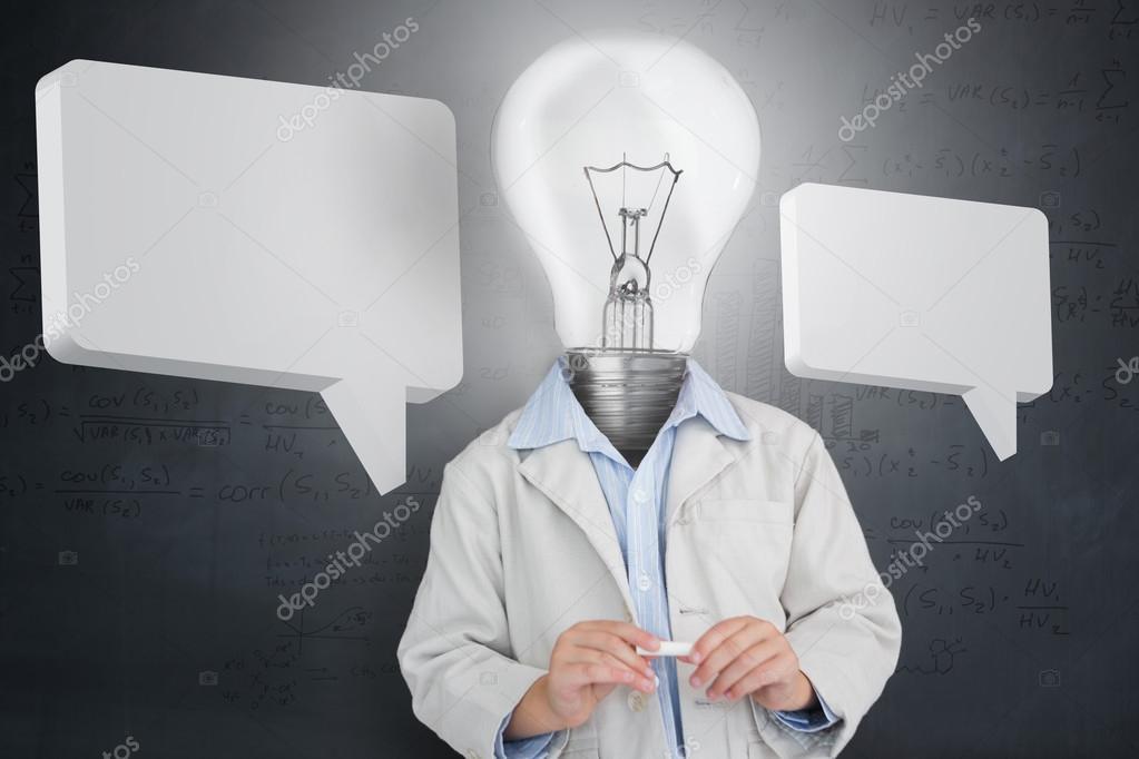 uomo lampadina : uomo con lampadina per una testa e due bolle di discorso - Immagine ...
