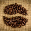 Stock Photo: Coffee beans formed into shape