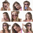 Stock Photo: Collage of a woman with hat and sunglasses