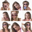 Stockfoto: Collage of a woman with hat and sunglasses