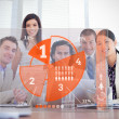 Smiling business workers looking at orange pie chart interface — Stock Photo