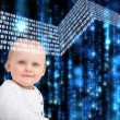 Portrait of baby with matrix background — Stock Photo #25720191